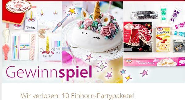Coppenrath und Wiese Conditorei Gewinnspiel Einhorn Partypakete 2017