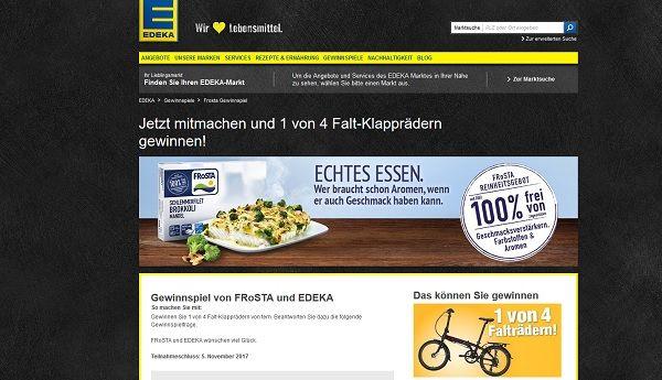 Edeka Frosta Gewinnspiel 4 Klappfahrräder 2017