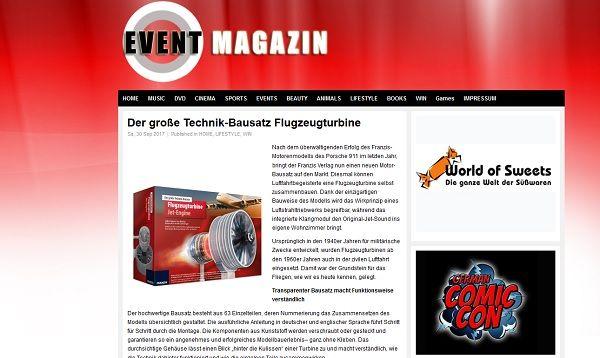 Event Magazin Gewinnspiel Modellbausatz Flugzeugturbine
