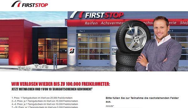 First Stop Gewinnspiel Tankgutscheine 2017