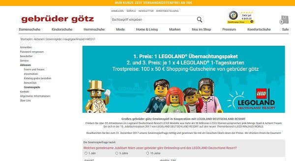 Gebrüder Götz Gewinnspiel Legoland 2017