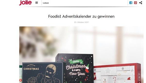 Jolie Gewinnspiel Foodist Adventskalender 2017