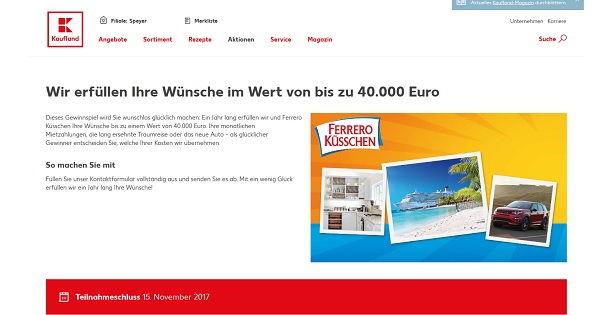 Kaufland Ferrero Gewinnspiel 40.000 Euro Wünsche
