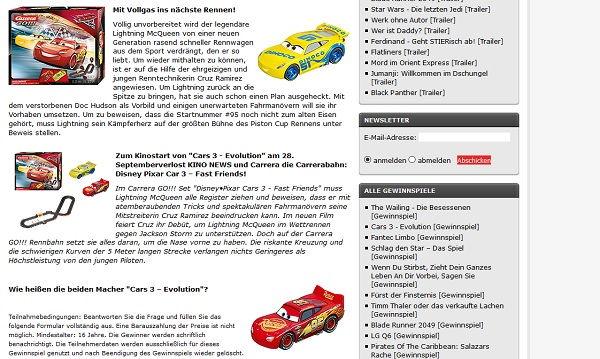 Kino News Gewinnspiel Cars 3 Carrera Rennbahn