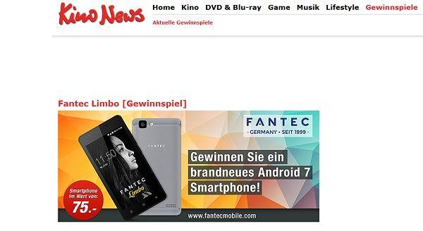 Kino News Gewinnspiel Fantec Limbo Smartphone 2017