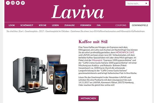 Laviva Com Gewinnspiele laviva gewinnspiel jura e8 kaffeevollautomat und mövenpick kaffee