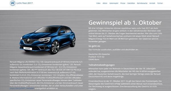 Licht Test 2017 Auto Gewinnspiel Renault Mégane Energy TCe