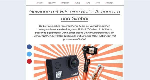 Mädchen.de Gewinnspiel BiFi Rollei Actioncam
