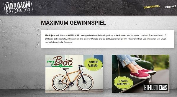 Maximum Bio Energy Gewinnspiel Bambus Fahrrad 2017