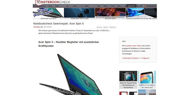 Notebookcheck Winter Gewinnspiel Acer Spin 5 Laptop