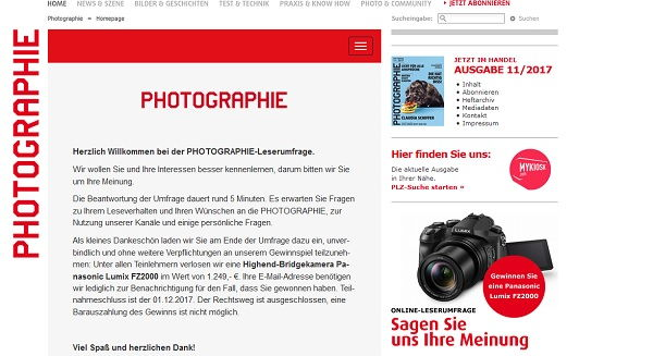 Photographie Leserumfrage 2017