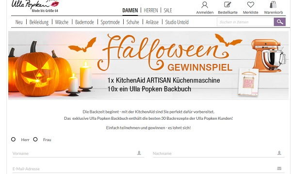 ulla popken halloween gewinnspiel kitchenaid artisan k chenmaschine. Black Bedroom Furniture Sets. Home Design Ideas