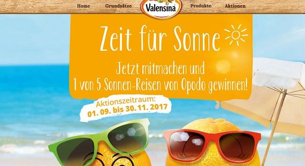 Valensina Gewinnspiel 5 Opodo Reisegutscheine 2017