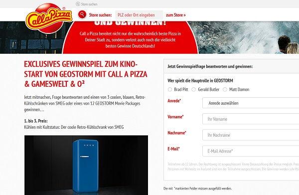 call a pizza Gewinnspiel SMEG Kühlschränke Geostorm 2017