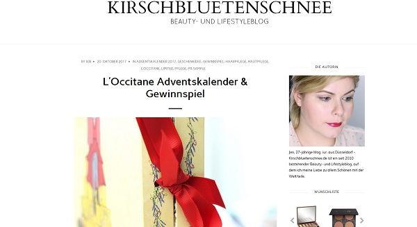 kirschbluetenschnee L´Occitane Adventskalender Gewinnspiel 2017