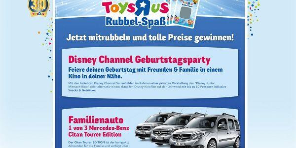 toysRus Rubbel-Spaß Gewinnspiel 3 Mercedes Citan