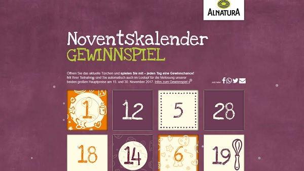 Alnatura Noventskalender Gewinnspiel 2017