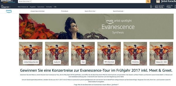 Amazon Gewinnspiel Konzertreise zur Evanescence-Tour