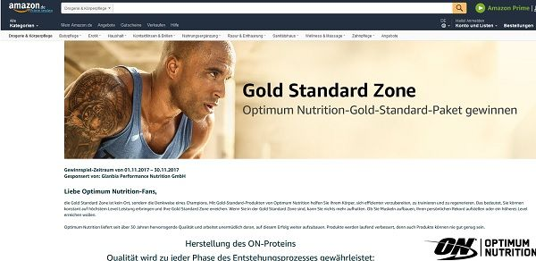 Amazon Gewinnspiel Optimum Nutrition