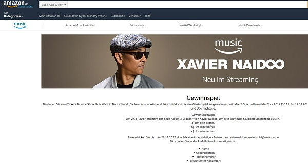 Amazon Gewinnspiel Xavier Naidoo Konzert 2017