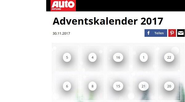 autozeitung adventskalender gewinnspiel 2017. Black Bedroom Furniture Sets. Home Design Ideas