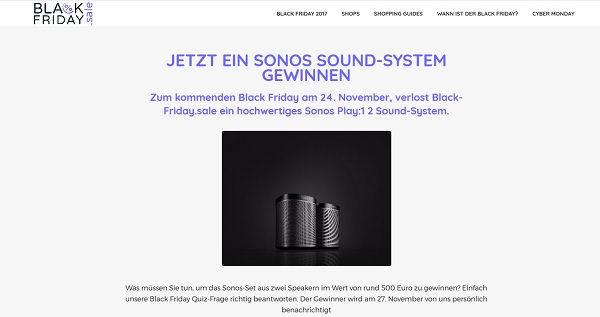 Black Friday Sale Sonos Gewinnspiel 2017