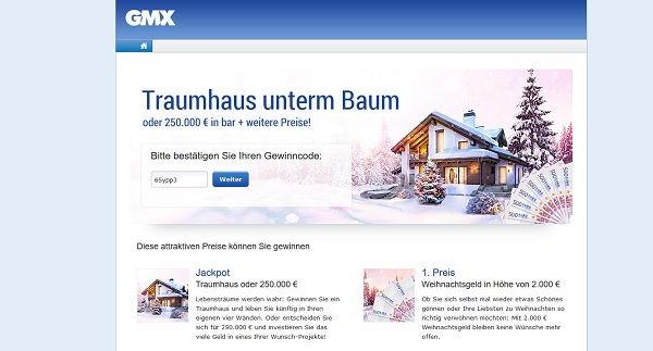 GMX Weihnachtsgewinnspiel Traumhaus oder Weihnachtsgeld gewinnen