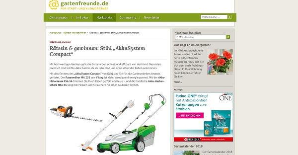 Gartenfreunde Gewinnspiel Stihl Akkusystem Gartenwerkzeuge