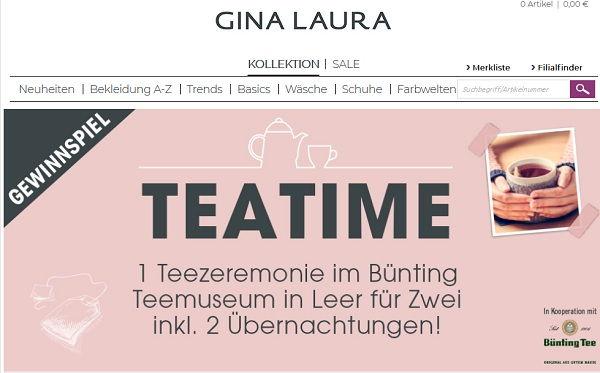 Gina Laura Gewinnspiel Teatime Reise 2017