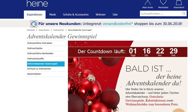 Weihnachtsdeko Bei Heine.Heine Adventskalender Gewinnspiel 2017 Apple Ipad Und Gutscheine