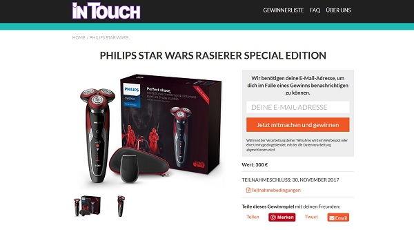 Intouch Gewinnspiel Philips Star Wars Rasierer 2017