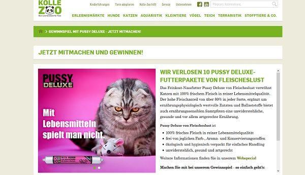 Kölle Zoo Gewinnspiel Pussy Deluxe Katzenfutter 2017