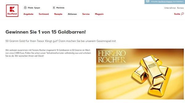 goldbarren gewinnspiel kaufland und ferrero rocher. Black Bedroom Furniture Sets. Home Design Ideas