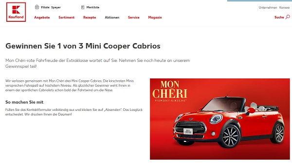Kaufland Gewinnspiel Mon Cheri Mini Cooper Cabrio 2017