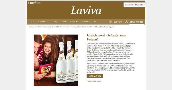 Laviva Com Gewinnspiele weihnachtspakete gewinnspiel laviva und henkel