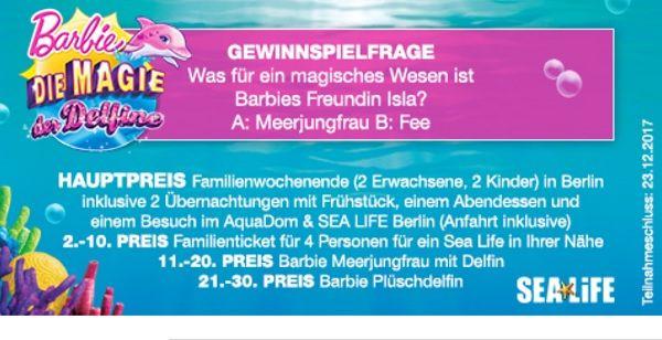 Müller Drogerie Gewinnspiel Berlin Familienwochenende 2017 Barbie