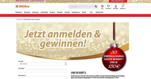 Müller Weihnachtsgewinnspiel 2017 Überraschungspakete