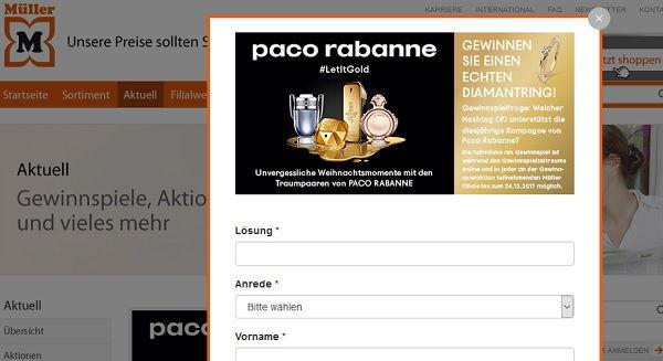 Müller Drogerie Gewinnspiel Paco Rabanne Diamantring 2017