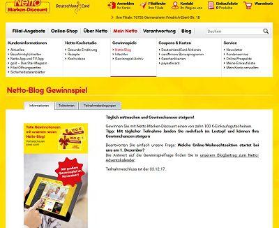 Netto Marken Discount Gewinnspiel 100 Euro Gutscheine