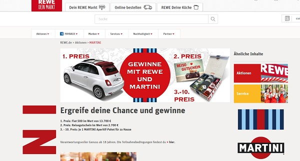 rewe und martini autogewinnspiel fiat 500 oder reisegutschein. Black Bedroom Furniture Sets. Home Design Ideas