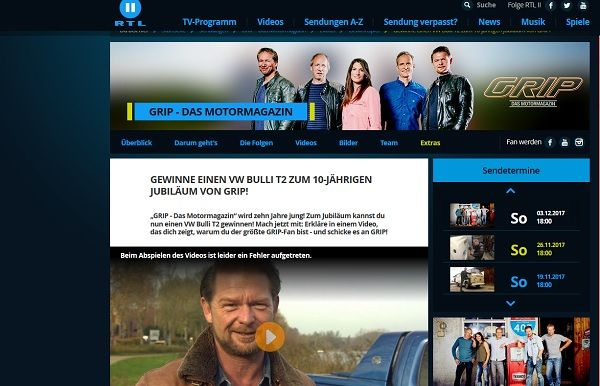 RTL2 Grip Motormagazin Gewinnspiel VW T2 Bulli