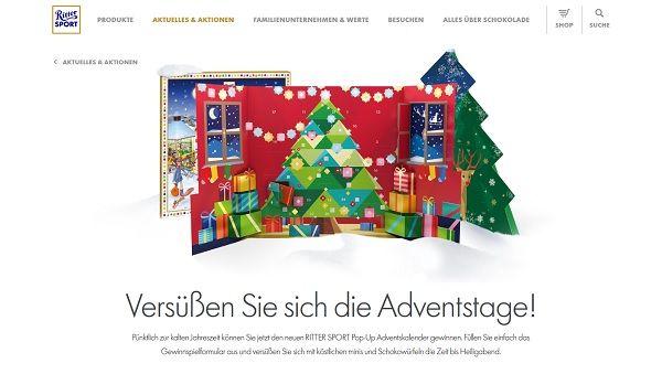 Ritter Sport Gewinnspiel 50 Pop Up Adventskalender