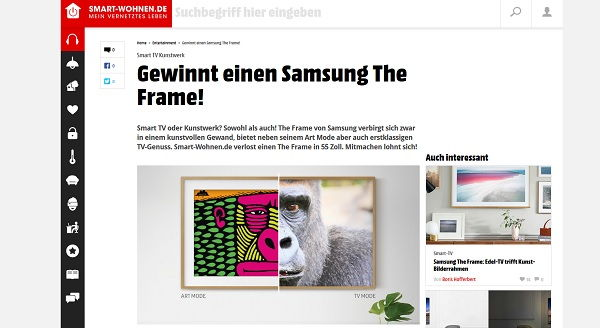 Smart Wohnen Gewinnspiel Samsung The Frame TV Gerät