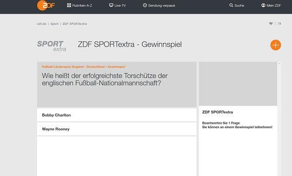 Sport Extra Gewinnspiel ZDF 2017