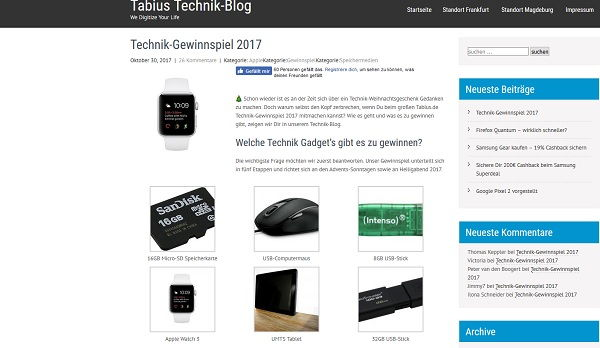 Tabius Technik-Blog Advents-Gewinnspiel 2017