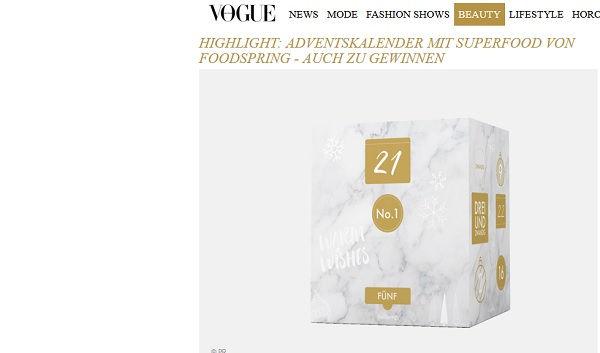 Vogue Gewinnspiel Foodspring Adventskalender 2017