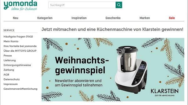 Yomonda Weihnachtsgewinnspiel Klarstein Küchenmaschinen 2017