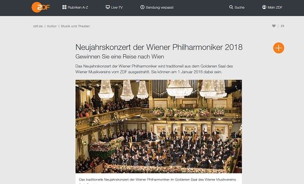 ZDF Gewinnspiel Neujahrskonzert Wiener Philharmoniker 2017 Reise gewinnen