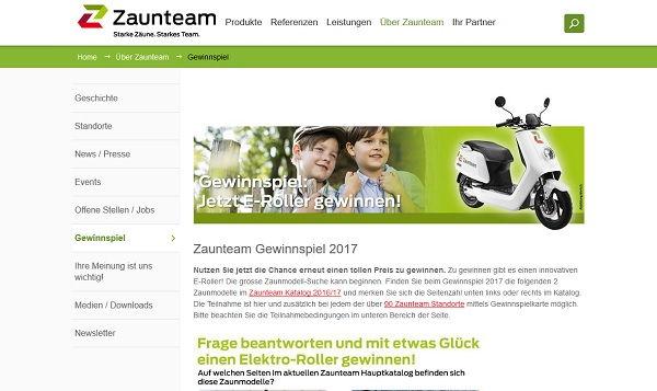Zaunteam Gewinnspiel Motorroller 2017