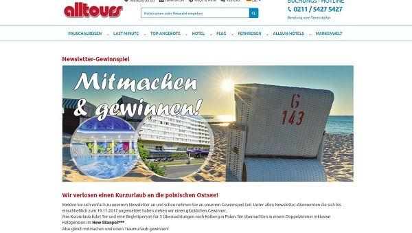 alltours Gewinnspiel Kurzurlaub polnische Ostsee